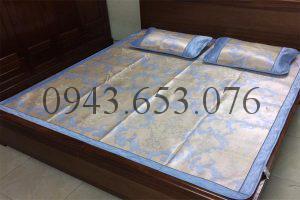 Chiếu lụa cao cấp Luxury SHIKADA màu xanh